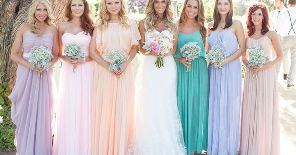 love these pastel bridesmaids dresses with a 70s vibe
