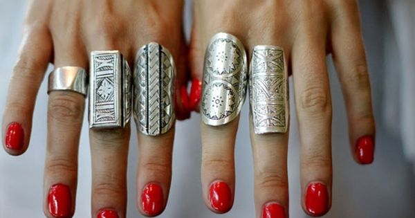 Sterling silver rings and the red nails!