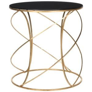 Safavieh Cagney Gold Black Accent Table Fox2535b At The Home Depot 20x20x21 5h Glass Top Accent Table Glass Top End Tables Gold Accent Table