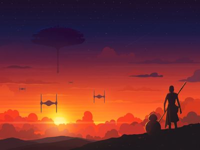 Sunset In A Galaxy Far Far Away Star Wars Painting Star Wars Wallpaper Galaxy Painting