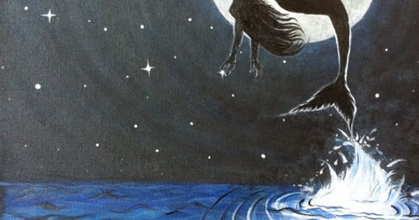 Mermaid Jumping Out Of The Water Under The Full Moon