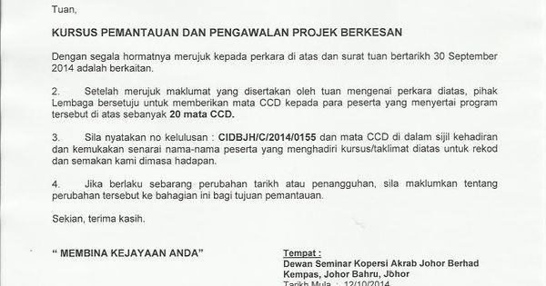 Kursus Cidb Kursus Kontraktor Surat Kebenaran Menganjurkan Kursus Surat Person Train