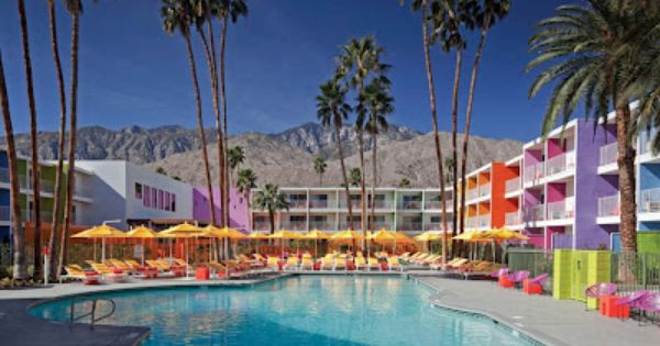 This new rainbow Saguaro hotel in Palm Springs looks like a cool