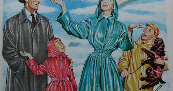 1940s Firestone Velon Vinyl Fabric Raincoat Vintage