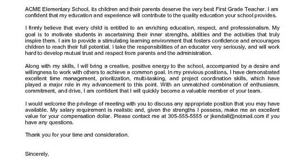 Elementary School Teacher Cover Letter Sample