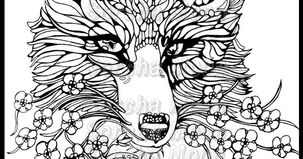 Fox Fet Me Nots Coloring Page for Adults Foxes and Etsy
