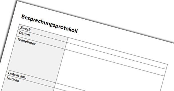 Protokoll Pdf Download Fur Eine Besprechung Oder Sitzung Einfach Herunterladen Und Ausdrucken Vorlagen Schulideen Besprechung