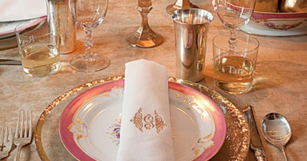 Pink and Gold Table Setting } Coral, Blush Pink and Gold Winter