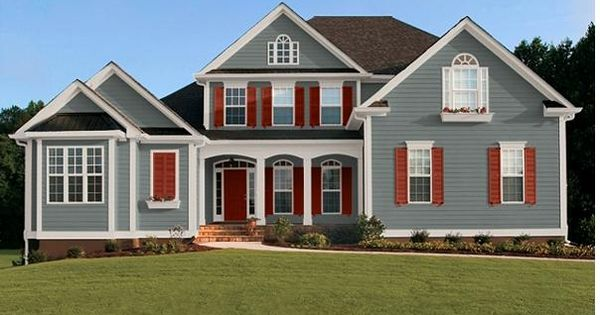Homburg gray and red shutters home exteriors pinterest homburg gray and red shutters for Sherwin williams homestead brown exterior