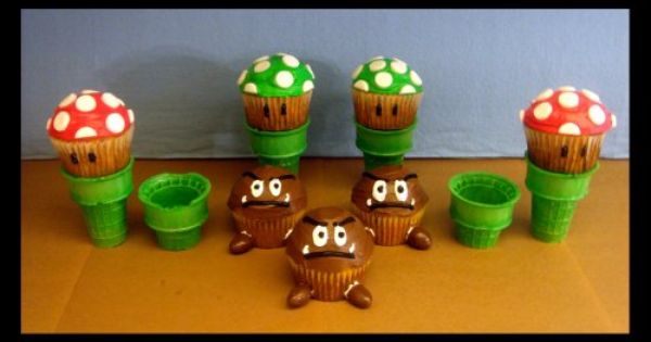 Inspiration: Super Mario cupcakes using ice cream cones as the pipes.