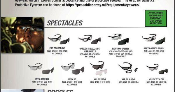 authorized protective eyewear list apel a list of the