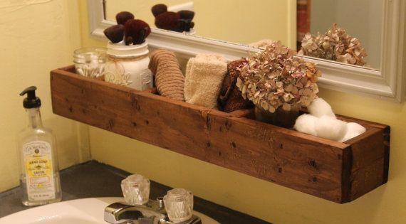 Reclaimed Wood Hanging Bathroom Shelf Wood Bathroom