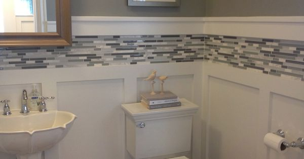 White Board And Batten Wainscot With Glass Tile Inlay Bathrooms Pinterest Bald Hairstyles