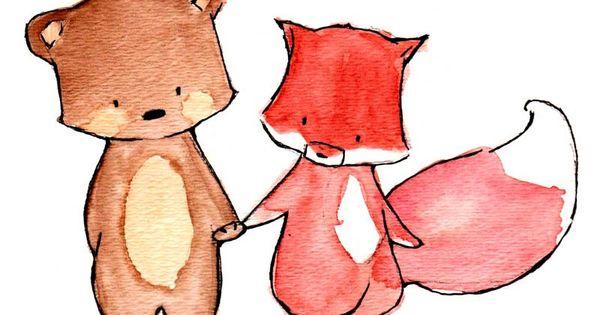 Pals--Fox and Bear--- Nursery Art Illustration Print 8x10. $20.00, via Etsy.