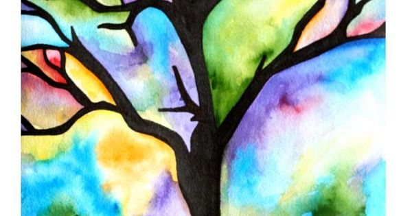Idea For Positive/negative Space Lesson With Watercolor