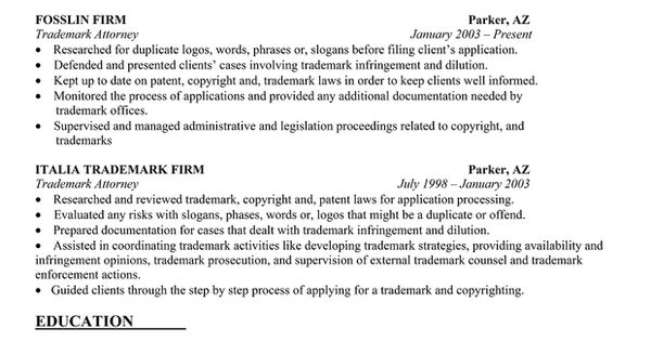 Trademark Attorney Resume trademark attorney resume resume samples - trademark attorney resume