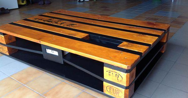 table basse industrielle palette avec chargeur usb bosch les palettes r cup et. Black Bedroom Furniture Sets. Home Design Ideas