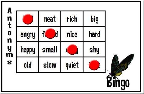 Synonym And Antonym Bingo Synonyms And Antonyms Antonym Synonym
