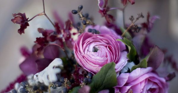 Love this color palette: raspberry, silver, and dusky blue.