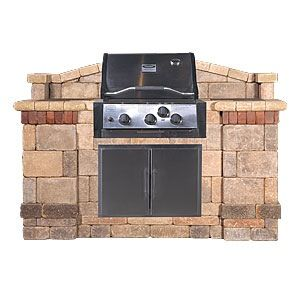 Stone Grill Enclosure With Brick Accent Modular Outdoor Kitchens Backyard Makeover Backyard Porch
