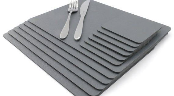 Placemats Set Of 8 Recycled Leather Slate Grey Place Mat 28cm Etsy Leather Coasters Recycled Leather Grey Placemats