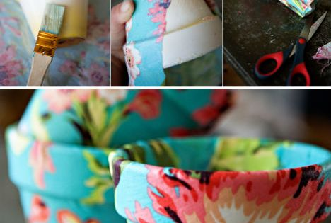 DIY fabric flower pots