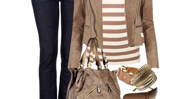Tan Striped Top, leather jacket & jeans