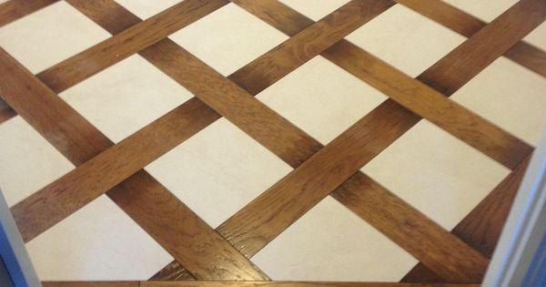 Wood And Tile Basket Weave Pattern Tile Floors