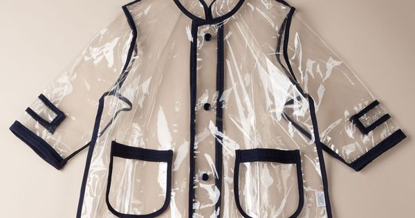 Unlined transparent rain coat with navy piping | Pluie Pluie