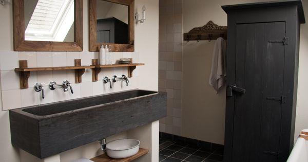 Idee voor de badkamer hoeve huisje pinterest dubbele wastafel badkamer en wastafel - Idee voor de badkamer ...