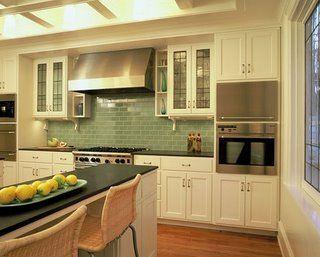 Sage Green Glass Subway Tile Backsplash Found At Https Www Subwaytileoutlet Com Kitchen Remodel Green Backsplash Kitchen Design