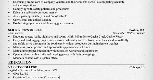 limousine driver resume sample  resumecompanion com