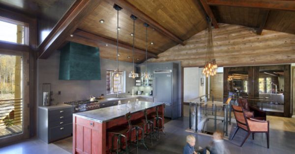 That Red Island Those Stools Are Awesome There S Our Gray Tile Floor Too Rustic Modern Kitchen Modern Cabin Rustic Kitchen