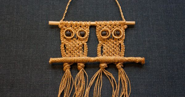 Macrame Owls Wall Hanging Vintage Hand Made In Natural