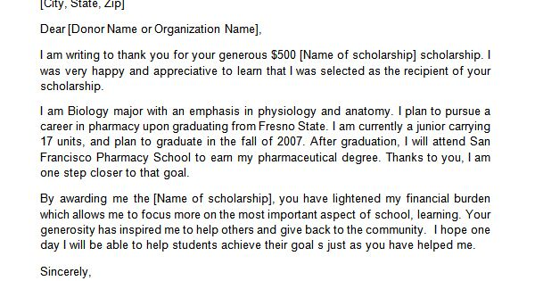 sample thank you letter for nursing scholarship