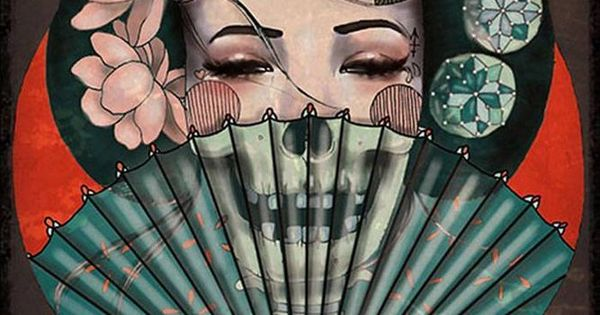Death Becomes Her by Amy Dowell Tattoo Art Print Geisha Girl Japanese