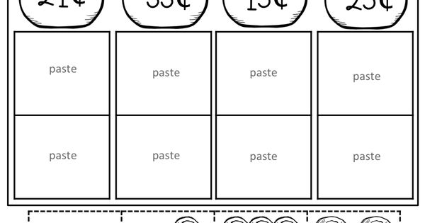 counting coins cut and paste 1st grade activities pinterest counting coins coins and math. Black Bedroom Furniture Sets. Home Design Ideas