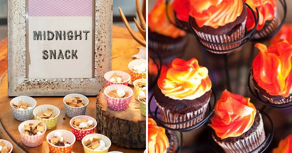 Gone Glamping! {Glamorous Camping Party} campfire cupcakes