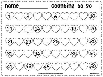 Free Kindergarten Valentine Counting Hearts To 50 Math Math Valentines Kindergarten Valentines Kindergarten Math Valentine day worksheets for toddlers