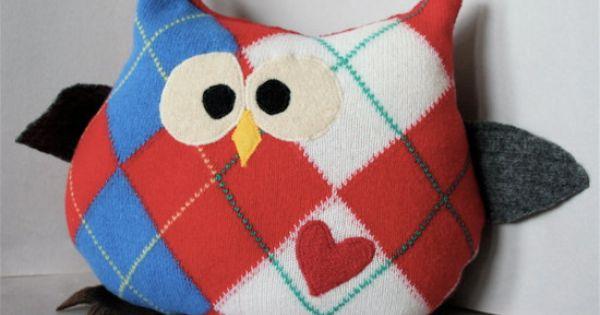 Upcycled stuffed owl