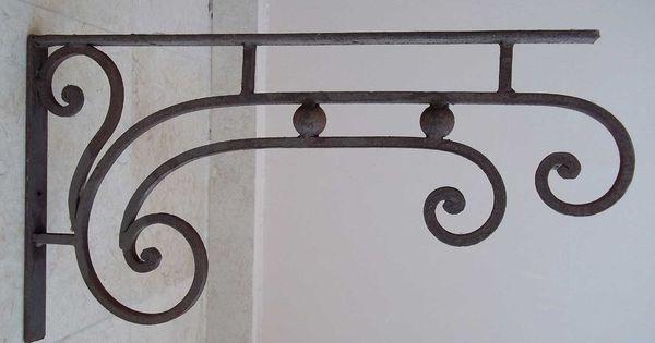 Art Deco Hanging Basket Brackets : Wrought iron grand bracket frames