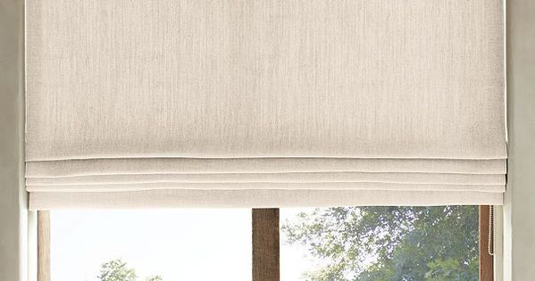 Belgian heavyweight textured linen flat roman shade for Restoration hardware window shades