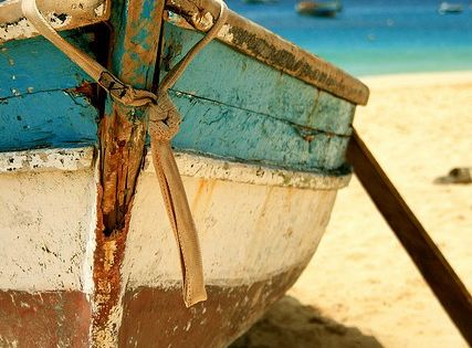 Love the old boat and colors of the water, sand , and