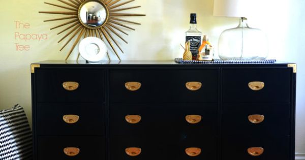 Made To Order Campaign Military Brass Dresser Black Lacquered Bedroom  Furniture On Etsy 129500 Painted Style