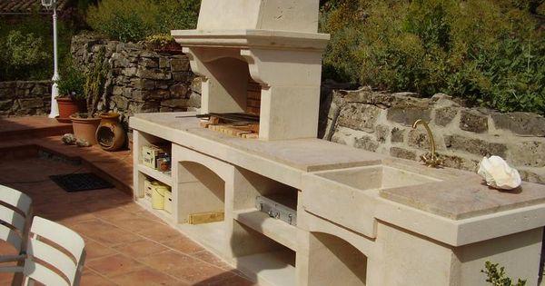 Pose installation cuisine d 39 t barbecue pierre de for Barbecue en pierre de taille