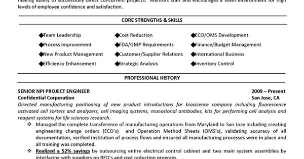 Senior Management Executive (Manufacturing Engineering) Resume - Example Of A Functional Resume