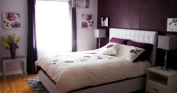 Schlafzimmerwände gestalten ~ Schlafzimmer gestalten lila wand tapete vorhaenge лилава спалня