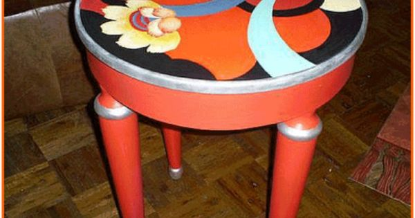 Oranges And Blues Table To Make Pinterest Painted Tables Tables Rounding