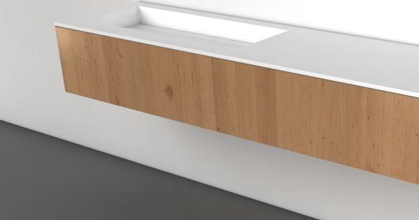 Mooie strakke minimalistische wastafel met berging eronder en rommeltjes erop badkamer - Italiaans badkamer model ...
