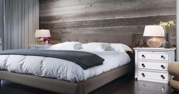 Chambre coucher mur bois de grange huile de lin une for Decoration de mur de chambre a coucher